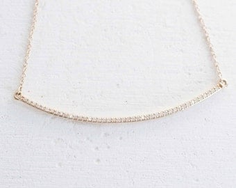 Pavé Diamond Arc Necklace | 14k Gold