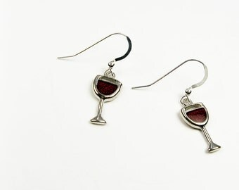 Wine Earrings - Red Wine Glass Drinking Gift for Book Club, Wine Country Travel, or Girls Night Out