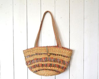 Flash Sale 25% Off Straw Tote Bag 1970s Beach Bag Vintage Tote Colorful Woven Straw Bag Hippie Boho