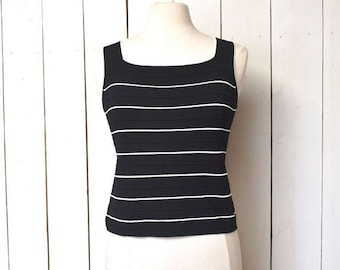 Flash Sale 25% Off Vintage Tank Top Early 90s Black White 90210 Preppy Nautical Sleeveless Fitted Blouse Medium Large