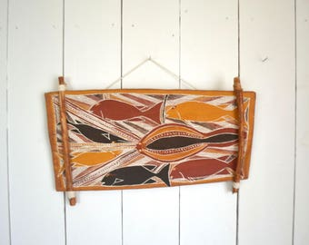 Tribal Wall Hanging - Hand Painted Tree Bark - Vintage Fish Painting - 1970s Boho Decor - 9 x 18 Inches