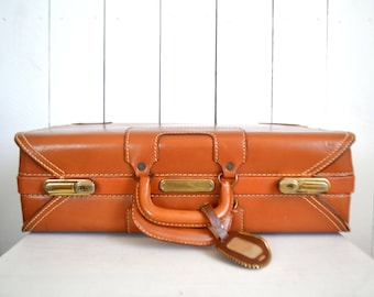 Hardshell Leather Suitcase - Honey Brown Vintage JC Higgins Suitcase - 1960s Mid Century Cowhide Luggage