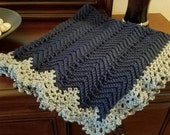 For Sally: Victorian Ripple Baby Afghan Simply Soft Yarn Navy Blue With Grey Border - made as special order and ready to be shipped
