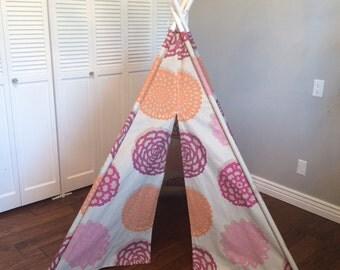 Pink, Orange, Tan Floral, Flower, Play Teepee, Tee Pee, Tent (poles included)