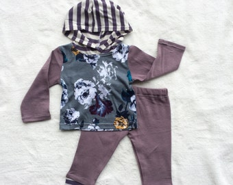 Last one! 3 Month Girl Two Piece Child Clothing Set, Gray, Floral, Flower, Mustard, Yellow, Blue, Purple, Plum