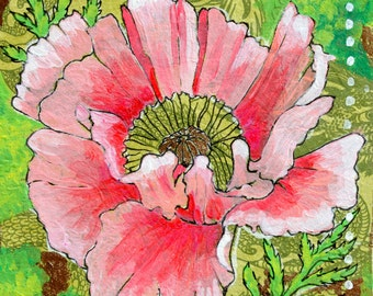 Pink Poppy GREETING CARD - poppy art, poppy painting, flower art, pink flower, pink, green, poppies