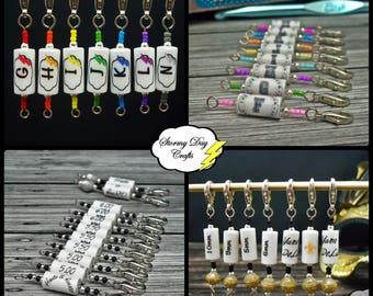 Custom Crochet Stitch Markers, Hook Size Reminders, Crochet Hook Letter, Stitch Marker Set, Crochet Bracelet, Crocheter Gift, Unique Crochet