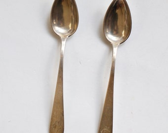 2 Antique Sterling Silver Spoons from Spain - 1800s