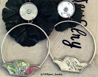 Enchanted Garden Sterling Silver Hoops