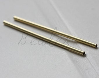 30pcs / Raw Brass / Tube / Brass Base / Spacer 2x50mm  (C3412//F108)