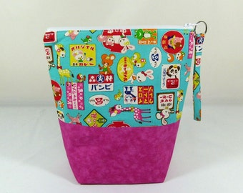 Knitting Project Bag - Small Zipper Wedge Bag in Japanese Cartoon Quilting Fabric with Pink Cotton Lining