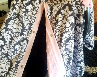 Carseat Canopy Charcoal Damask with Pink Minky