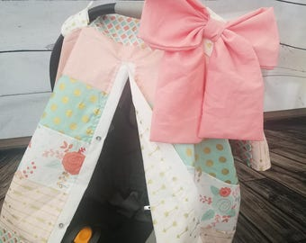 Carseat Canopy Floral Mint Coral Gold Arrow Strip Work Cover
