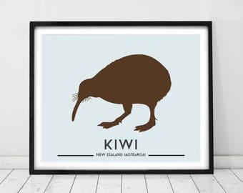 Bird Print, Interior wall art, Kiwi bird, New Zealand Art. Prints for Kids rooms, Room decor for Kids, Animal prints by little grippers