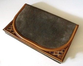 Vintage Diane Von Furstenberg Suede Taupe Leather Canvas  Handbag Clutch ~ DVF