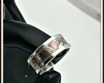 artisan designer Ring Sterling silver Mokume Gane inlay (argentium sterling - copper) Your size man woman