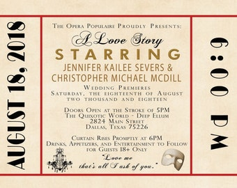 Old Hollywood Wedding Invitations, Antique Movie Theater Invites, Art Deco, Red and Gold, Wedding Invitation Listing for Jennifer Severs