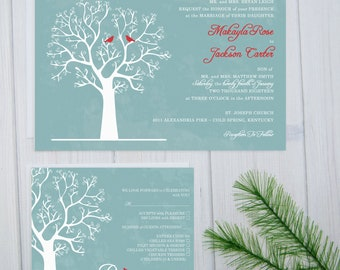 Winter Wedding Invitations   Rustic Wedding Invitation Suite   Love Bird Wedding Stationery   Blue and Red Invite Set   Winter Tree   Sample