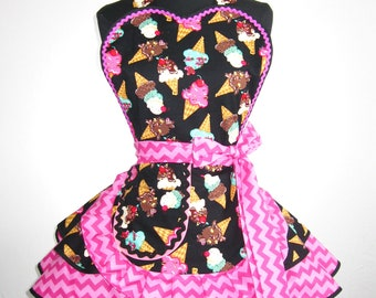 Hot Pink and Black Ice Cream Apron
