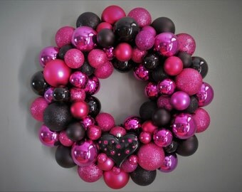 Valentine's Wreath BLACK and  MAGENTA VALENTINE'S Day Ornament Wreath