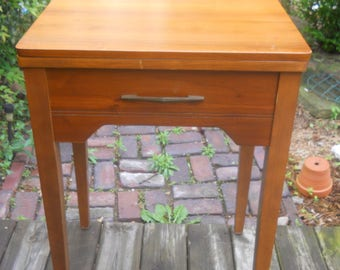 Vintage Singer Sewing Machine Walnut Table/Cabinet--With Dust Bottom-Singer Insignia-A Singer 15 came out of this table