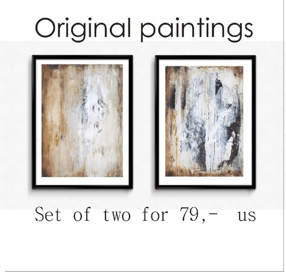orignal painting creme white abstract painting nice wall art brown acrylic painting Jolina Anthony