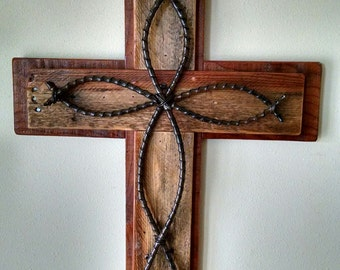 Rustic Reclaimed Pallet Wood Layered Wooden Cross with Twisted Iron Cross Overlay...Unique Handmade...Great Gift Idea..Wedding..Primitive