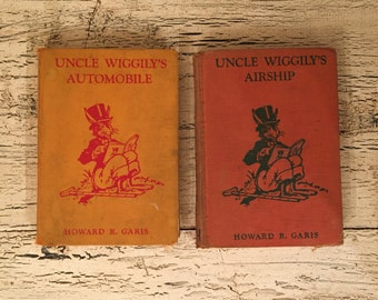 Pair of Uncle Wiggily Books - Uncle Wiggily's Automobile and Airship - Tattered and Distressed