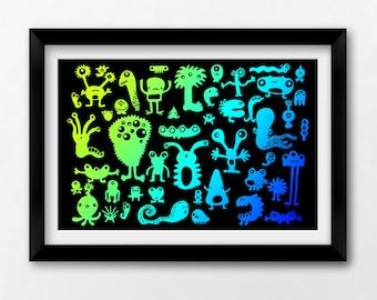 Monster Kids Art Printable 12x8, Monster Boys Art, Instant Download Illustration by Sleepy Cloud Studios