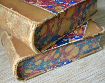 Two Antique Marbled Leatherbound Books. Circa 1890. Victorian Library. Home Decor.