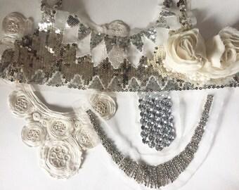 Fashion trim, Silver Sequin trim, Sequin Patch, Crafting Supply, Sewing Supply, Fashion Trim