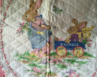 Vintage BABY Crib Quilt MOTHER RABBIT & Child Pink Lace Border
