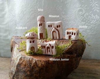 miniature mission house, enchanted garden, tiny house, fine art porcelain house, tiny stucco house, terrarium, fairy house, fairy garden