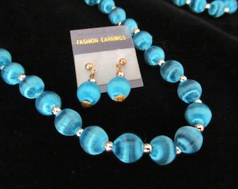 Blue Beaded Silk Wrapped Necklace and Dangle Earrings Set