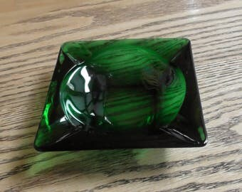 Vintage 1950's Forest Green Glass Ashtray