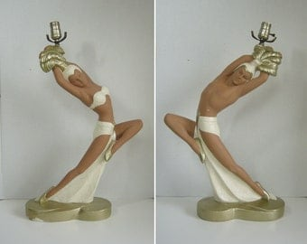 1950's Pair of Brazilian / Samba Dancer Continental Art Co. Chalkware Table Lamps - NO SHADES