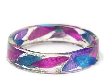 Flower Petal Jewelry -Blue Bracelet- Modern Flower Child- Purple Flower Jewelry- Resin Jewelry- Flower Bangle- Pink Flower Bracelet