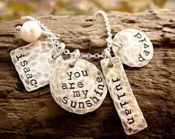You Are My Sunshine Necklace, Silver Hand Stamped Disc Necklace with Three Names, Mother Necklace