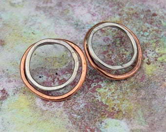 Organic earrings, copper, silver studs, rustic earrings, mixed metal, copper jewelry,