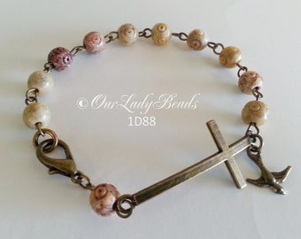 Men's Rosary Bracelet•Soapstone SemiPrecious Rosary Bracelet•Religious Jewelry•Groom Gift•Confirmation Gift•First Communion•Our Lady Beads
