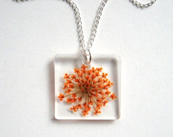 Orange Queen Anne's Lace - Real Flower Garden Necklace - botanical jewelry, pressed flower, flower jewelry, flower necklace, natural, ooak