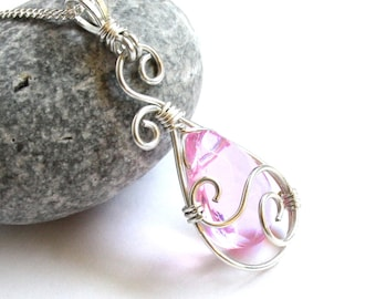 Teardrop Swirl Pendant - Rose Pink Faceted Glass Briolette and Silver Wire Wrapped Dangle