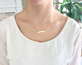 Gold Bar Necklace, Dainty Gold Necklace, Bar Necklace, Bridesmaid Necklace, Birthday Gift, joanna gaines jewelry Best Friend, Best Selling