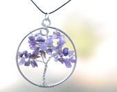 Natural Amethyst Tree of Life Pendant Necklace
