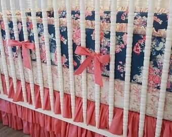 Girl Crib Bedding- Baby Bedding- MADE TO ORDER- Custom Navy and Coral Bedding- Nisi Flora Oceanon