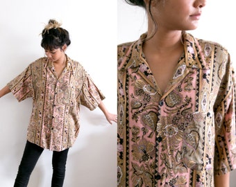 80s All Over Print Blouse / Psychedelic Abstract Button Up Shirt / Paisley Pink Green Collared Retro Boyfriend Oversized Long Short Sleeve