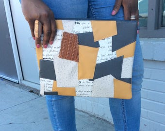 Patchwork Oversized Zipper Pouch/ Cosmetic Bag
