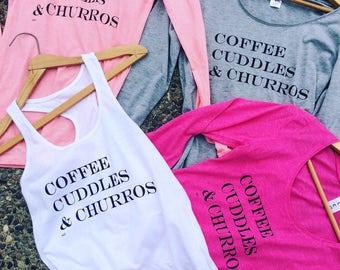 Coffee cuddles churros ladies tops
