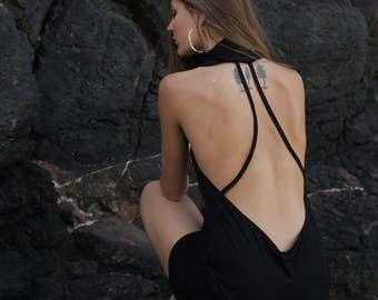 Backless little black dress - Cowl Neck, LBD, summer dress, short dress.