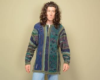 vintage 90s Coogi sweater women sweater dress half zip long sweater hip hop street style 1990 Fresh Prince Cosby Biggie L large
